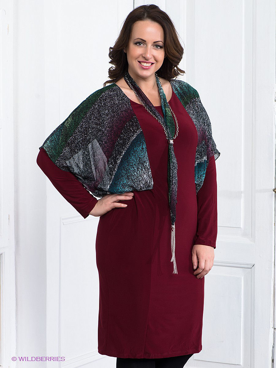 Платье Gemko plus size 13387/BORDO