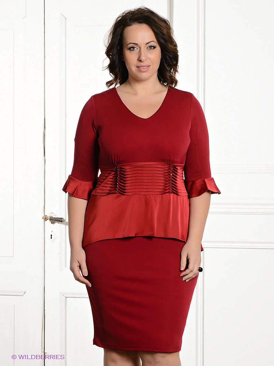 Платье Gemko plus size 3778/BORDO