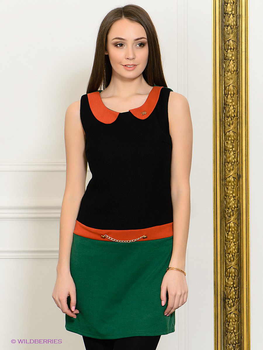 Платье-мини Eunishop 7902075/BLACK/GREEN