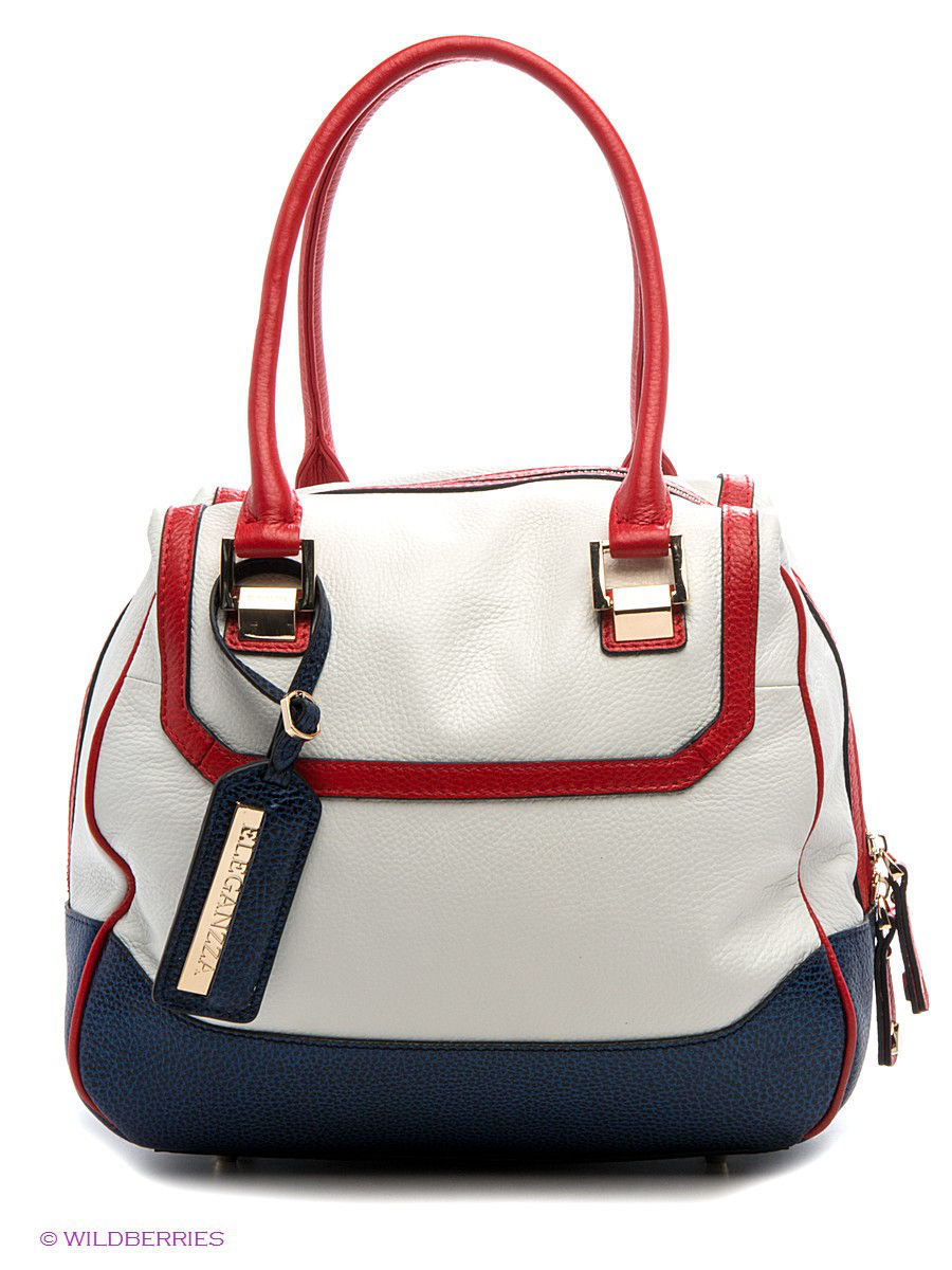Кожаная сумка Eleganzza Z28A-3187-1/white/red/blue