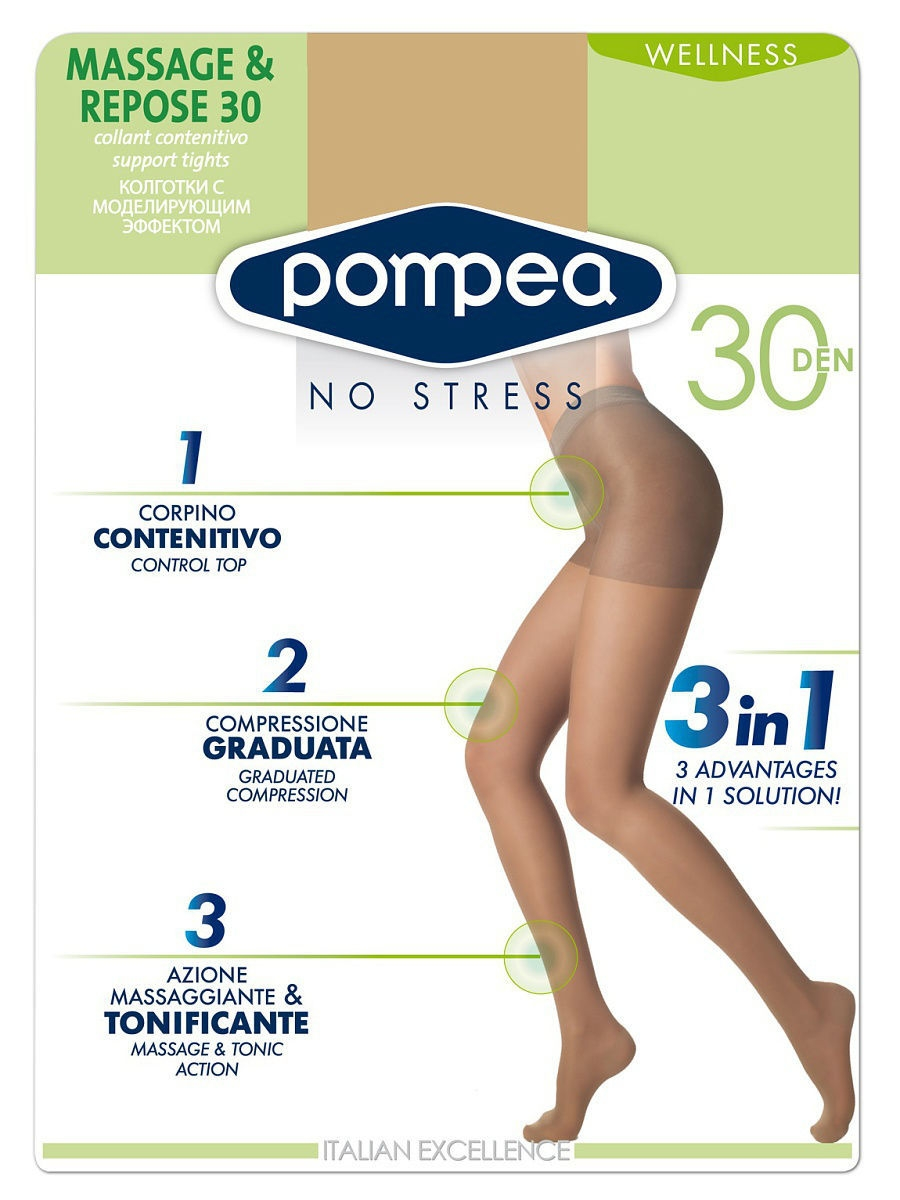 Колготки POMPEA MASSAGE&REPOSE30den/Nature