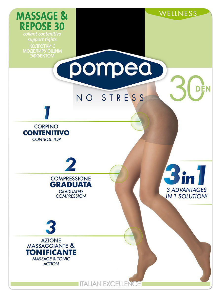 Колготки POMPEA MASSAGE&REPOSE30den/Nero