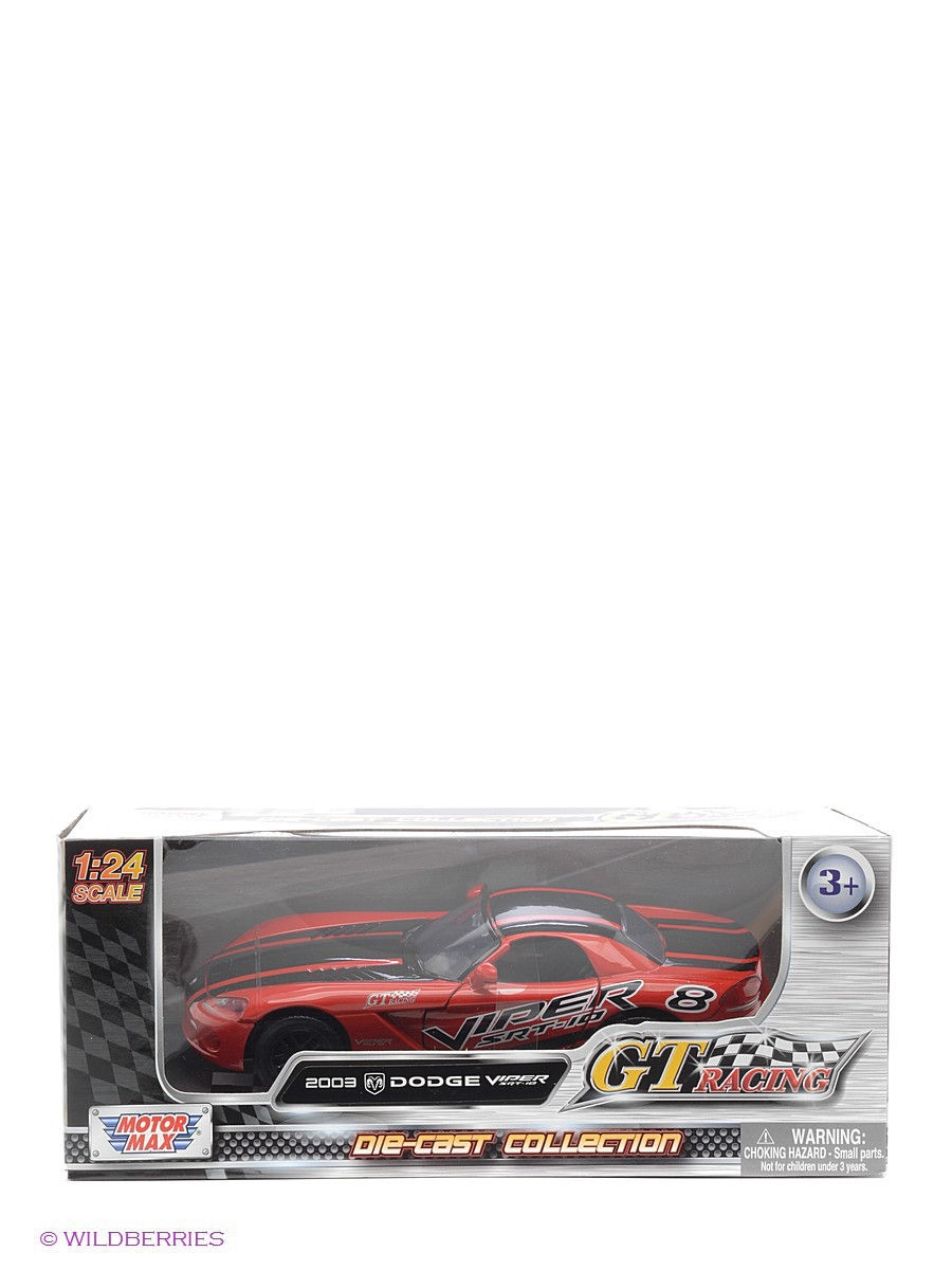 Машинки Motormax Машина 1к24 GT Racing  2003 Dodge Viper SRT10 motormax вертолет ah1z viper