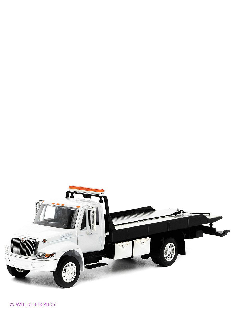 Машинки Jada Автомобиль WHITE 24 International Flat Bed Tow Truck Durastar jada