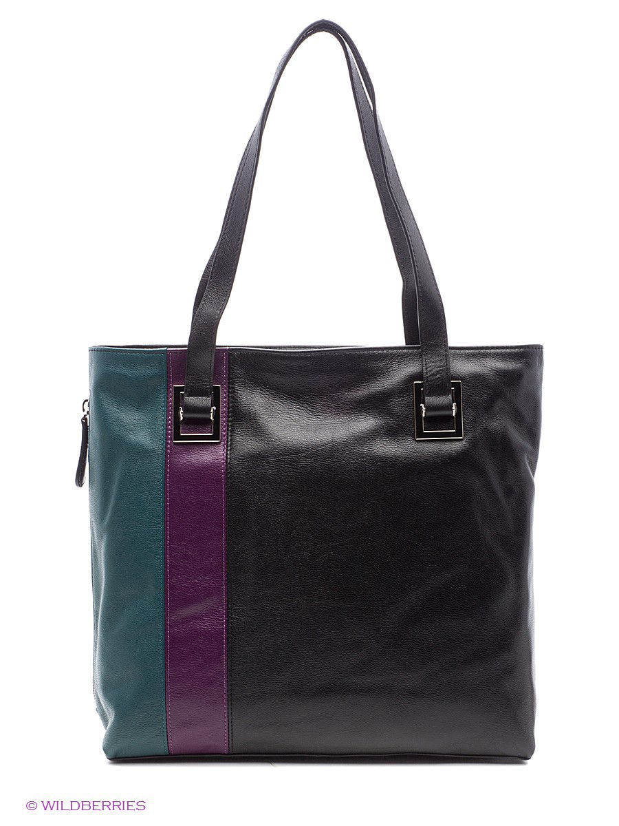 Кожаная сумка Leo Ventoni 23004382-nero/green/purple