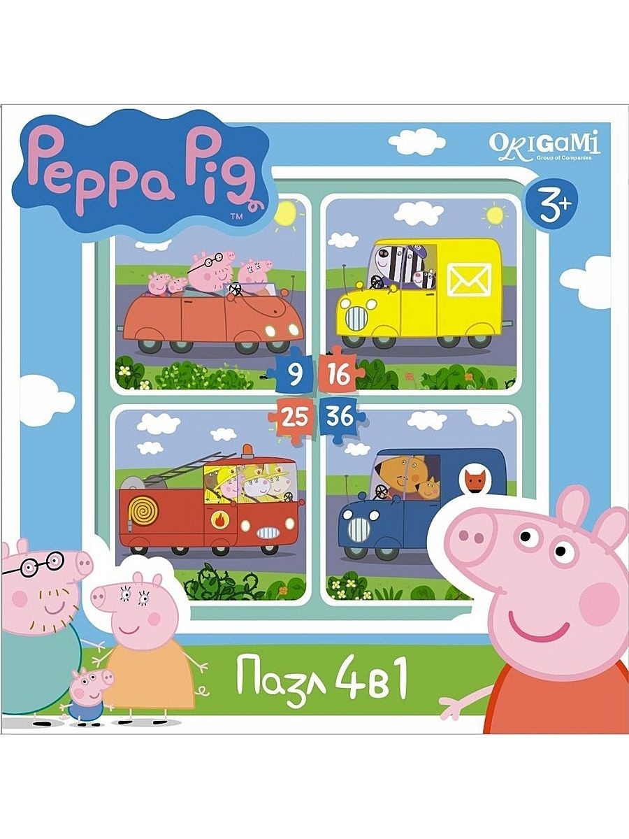 Пазлы Peppa Pig Пазл.4в1.Транспорт peppa pig playing football