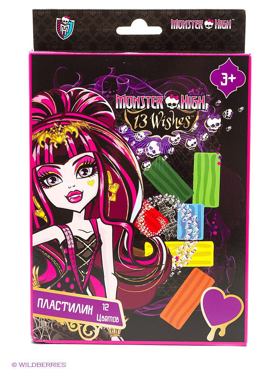 Пластилин Monster High 12 цветов