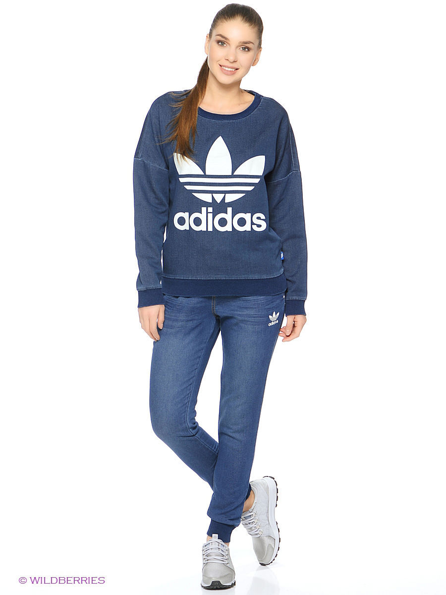 Свитшоты Adidas Свитшот Tr Denim Sweat adidas denim superskin