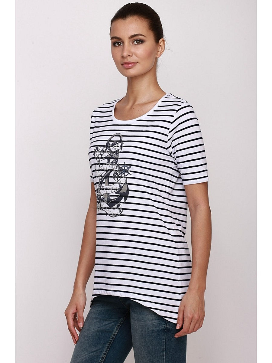 Футболка Baon (Баон) B236109/WHITE-DARKNAVYSTRIPED: изображение 1