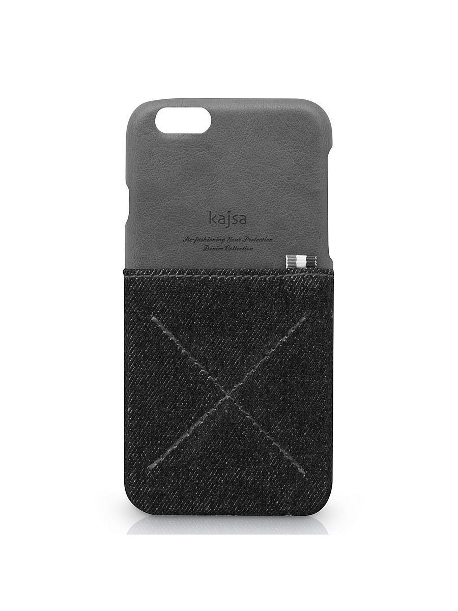 Чехлы для телефонов Kajsa Чехол для iPhone 6 Plus Denim Collection Pocket back case [iPhone 6- 5.5],Black чехлы для телефонов kajsa чехол для iphone 6 plus preppie collection saffiano leather folio case [iphone 6 5 5] pearl white