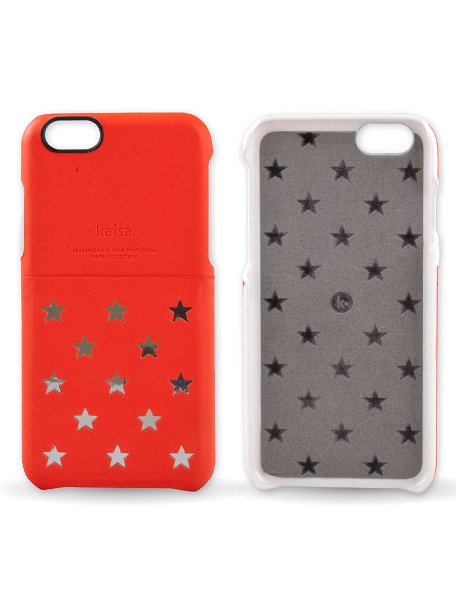 Чехлы для телефонов Kajsa Чехол для iPhone 6-4.7 Neon Collection Star pattern Pocket back case [iPhone 6-4.7],Shocking Red чехлы для телефонов kajsa чехол для iphone 6 plus preppie collection saffiano leather folio case [iphone 6 5 5] pearl white