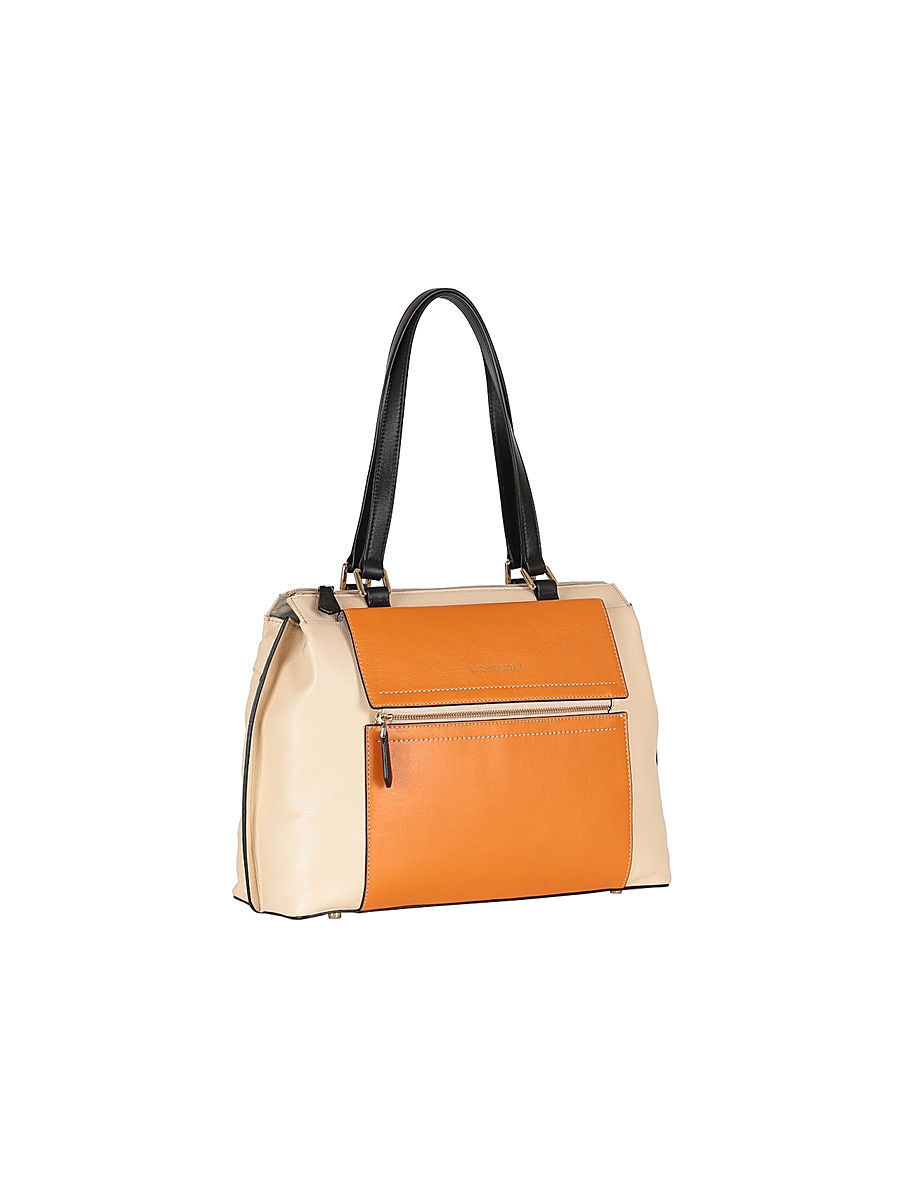 Кожаная сумка Leo Ventoni 23004243beige/orange/nero
