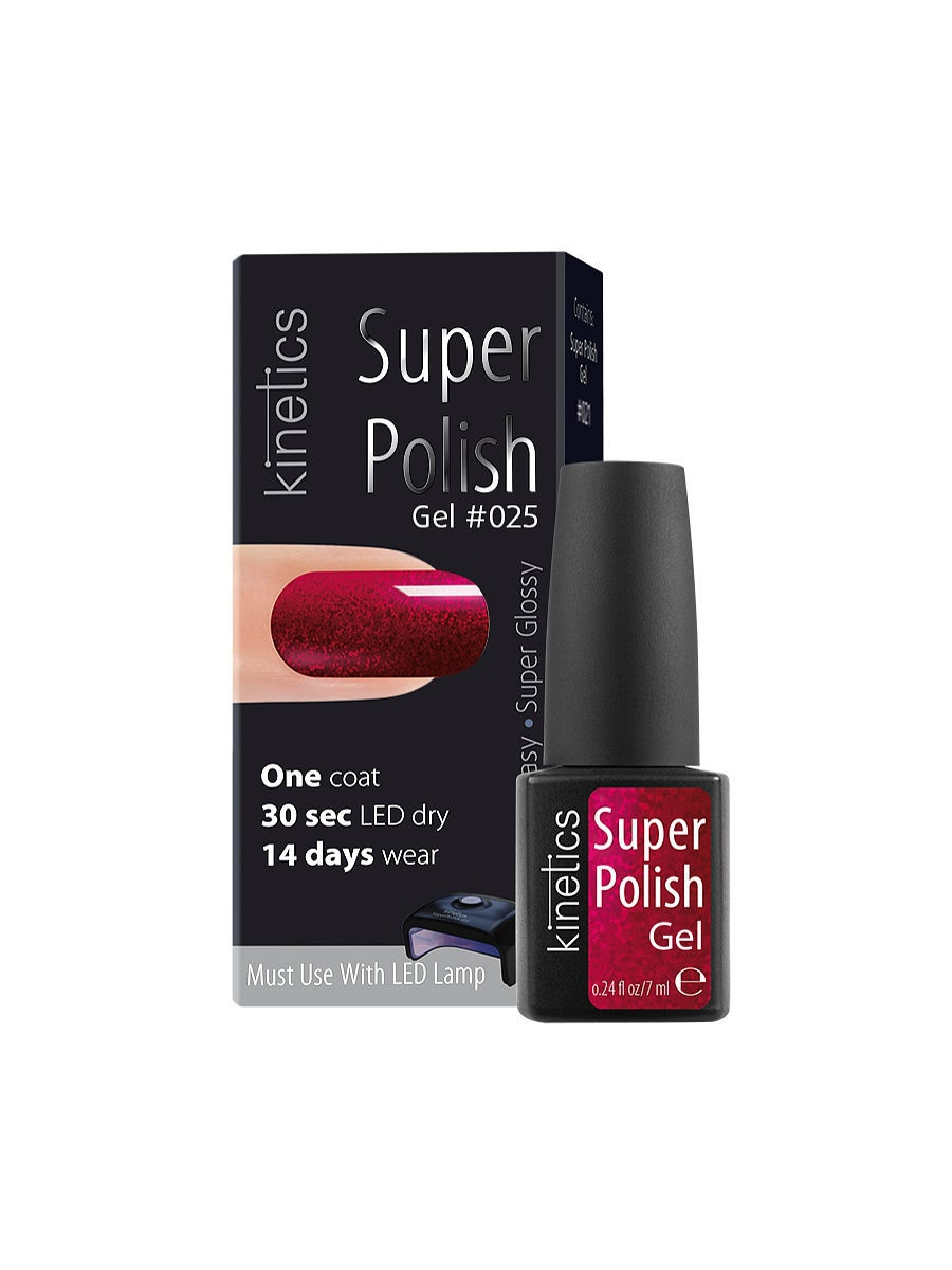 Гель-лаки Kinetics Однофазный гель-лак Super Polish, 7 мл, тон № 025 Raspberry Beret ibd гелевый лак бульвар сансет 56787 ibd just gel polish sunset strip 19400 124 14 мл