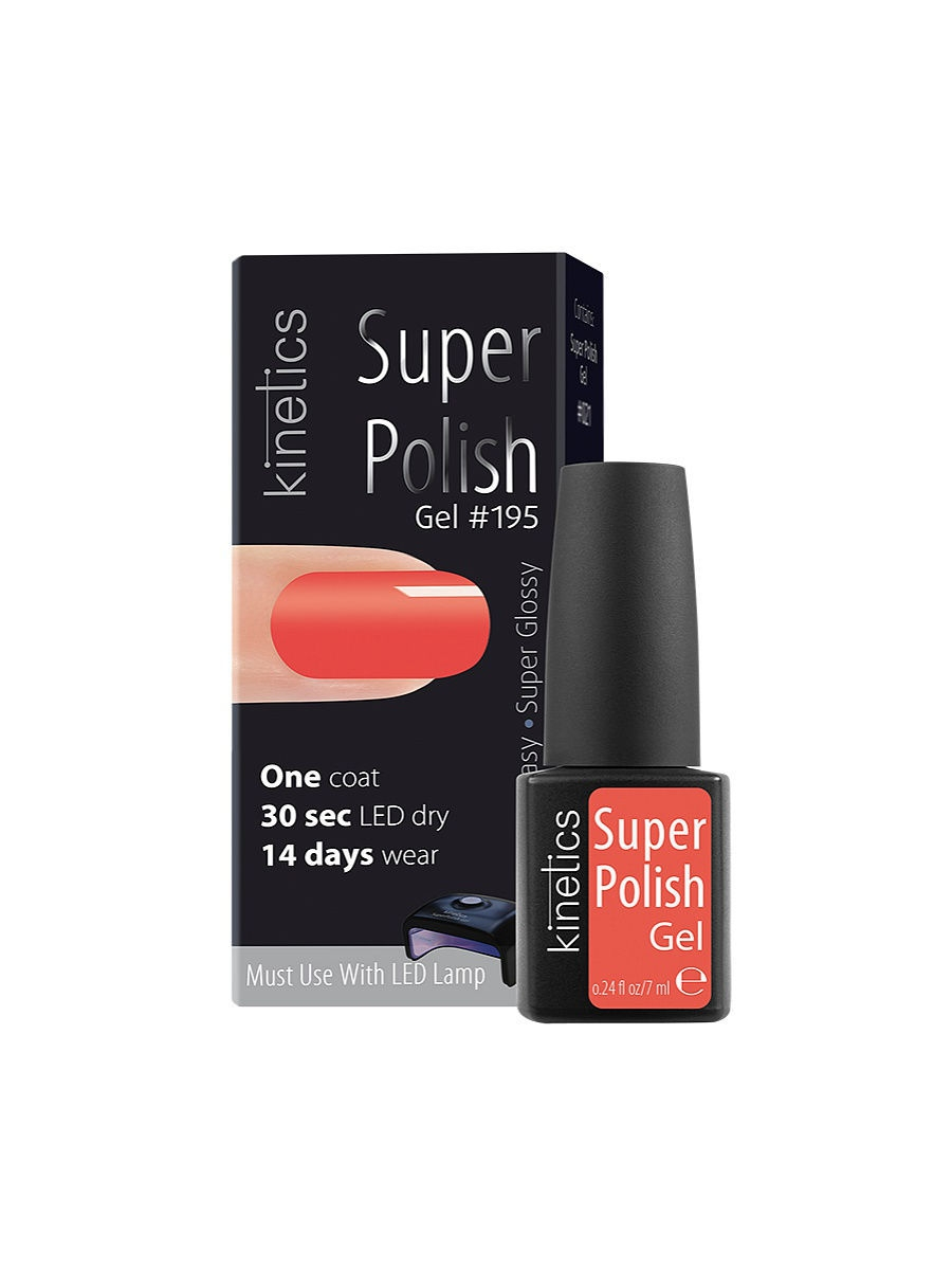 Гель-лаки Kinetics Однофазный гель-лак Super Polish, 7 мл, тон № 195 Pinky Winky ibd гелевый лак бульвар сансет 56787 ibd just gel polish sunset strip 19400 124 14 мл