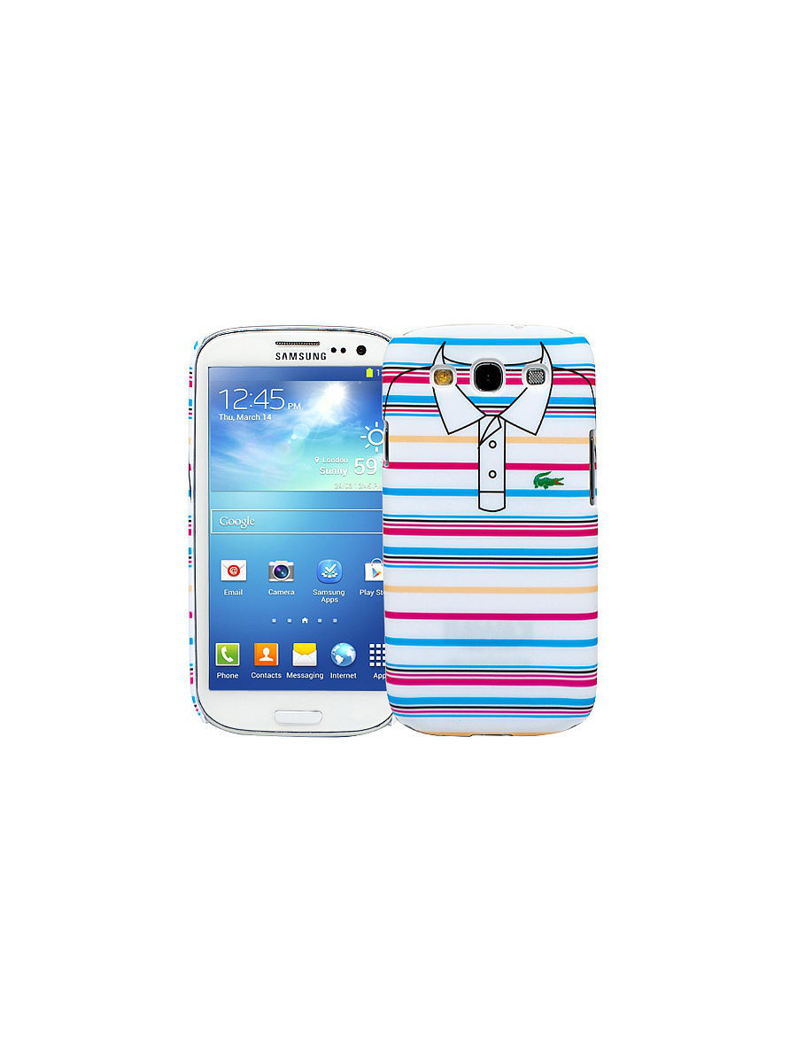 Чехлы для телефонов Kawaii Factory Чехол для Samsung Galaxy S3 Blue and pink stripes, серия Sports shirt pink galaxy