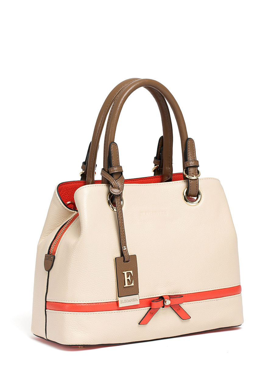 Кожаная сумка Eleganzza Z28A-7373S/ivory/taupe/coral