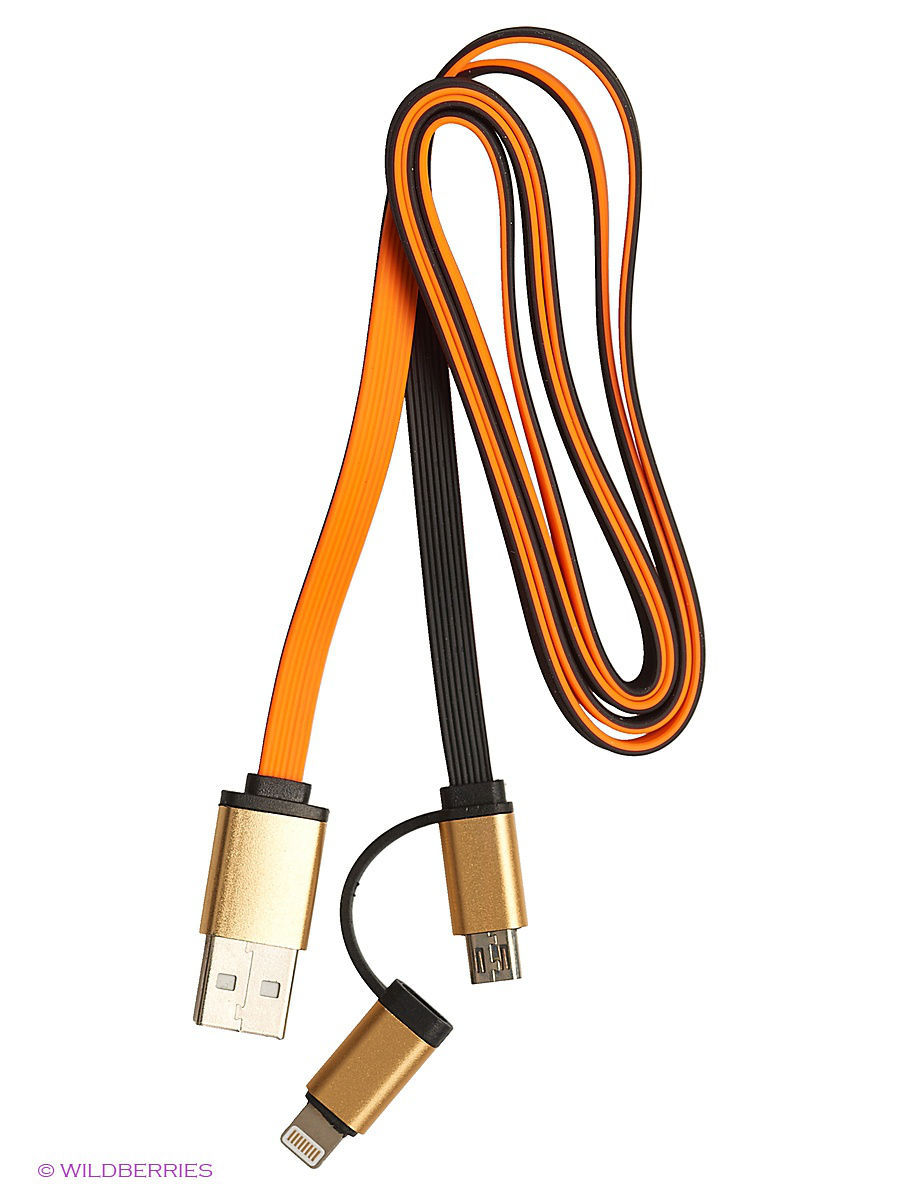 Кабель USB 2 в 1 (Lighting, MicroUSB) TERRITORY 30322/оранжевый