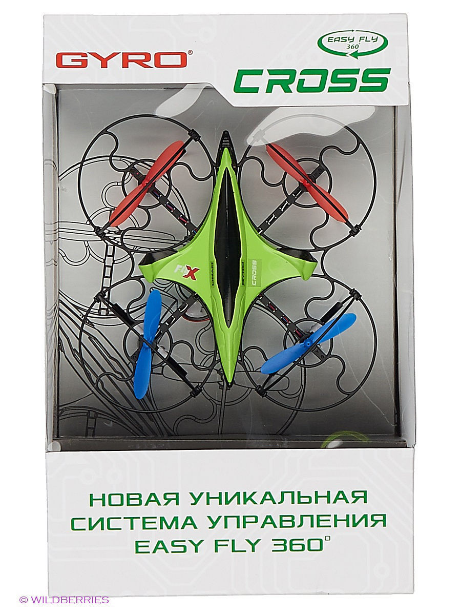 Квадрокоптер 1toy GYRO-Cross 2,4GHz 4 канала 16х16см, 6-осевой, real headless режим