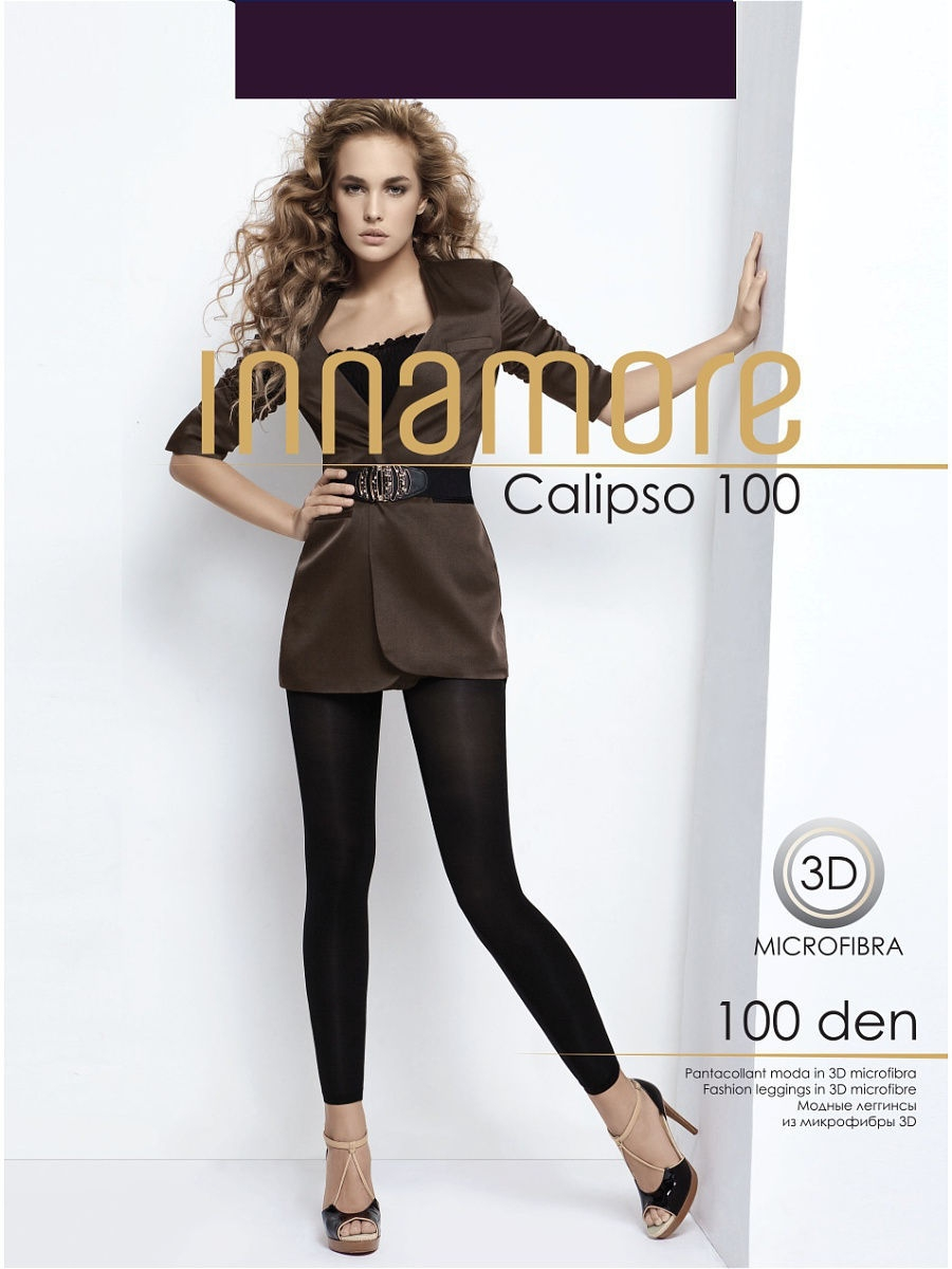 Леггинсы ч/н Innamore Леггинсы Calipso 100 trendy buttoned high waist solid color pencil pants for women