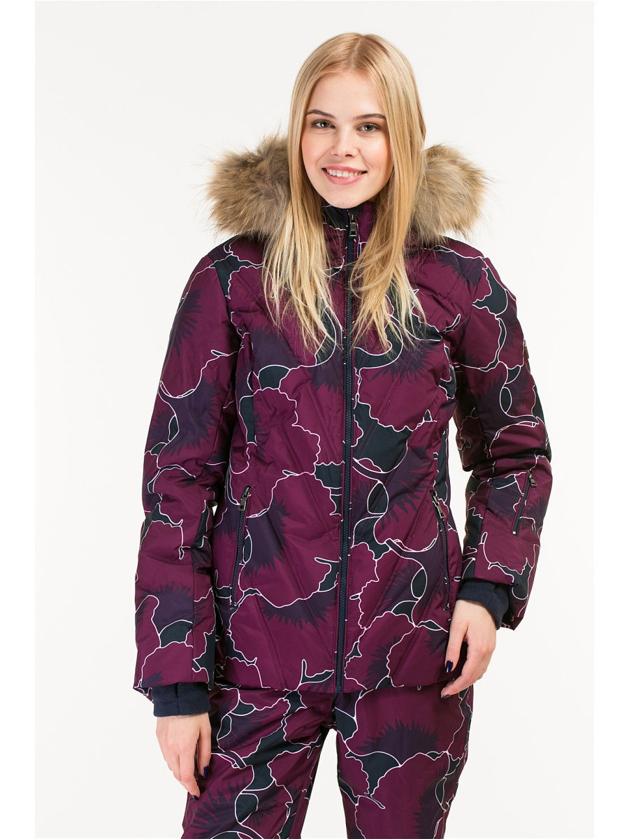 Пуховик Baon (Баон) B006902/PLUM-DARKNAVYPRINTED