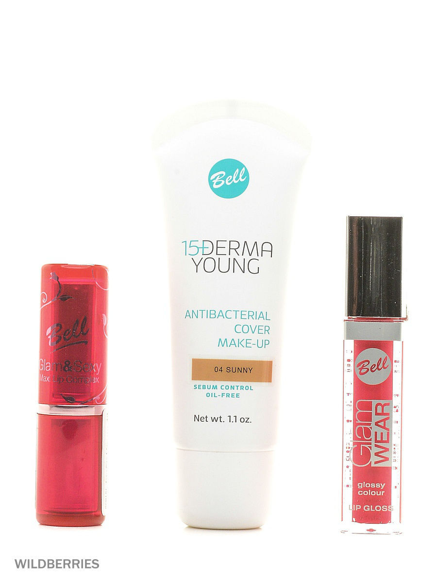 Bell Спайка флюид derma young, блеск glam wear glossy lip gloss, помад�� glam&sexy lipstick