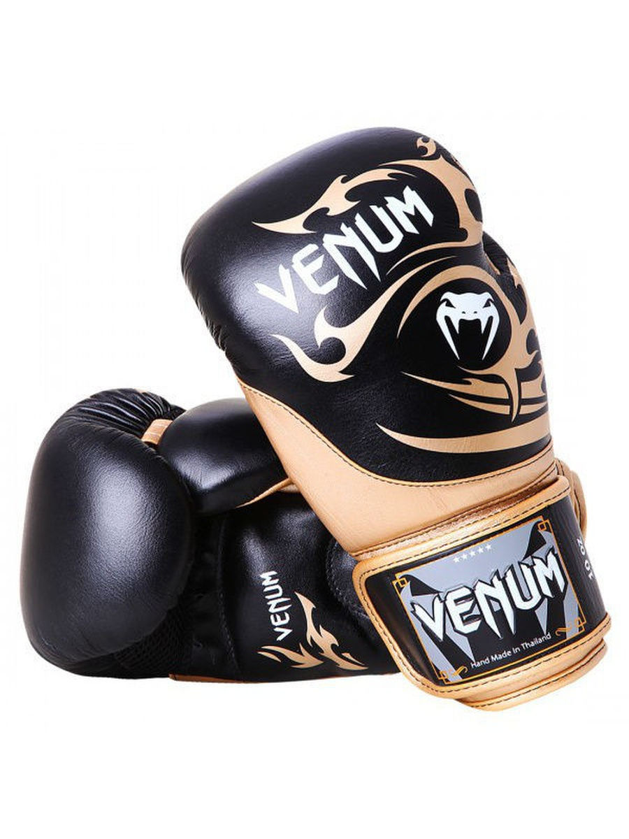 Перчатки боксерские Venum Tribal Boxing Gloves - Black/Gold - Nappa leather