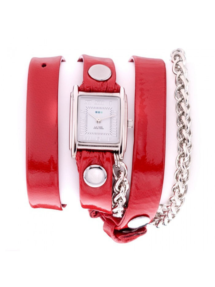 La Mer Collections Часы La Mer Collections Chain Motor Red Patent Silver