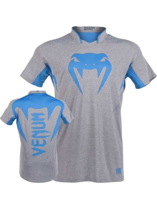 Футболка Venum Футболка Venum Hurricane X Fit T-Shirt - Grey/Neo Blue venum women body fit m
