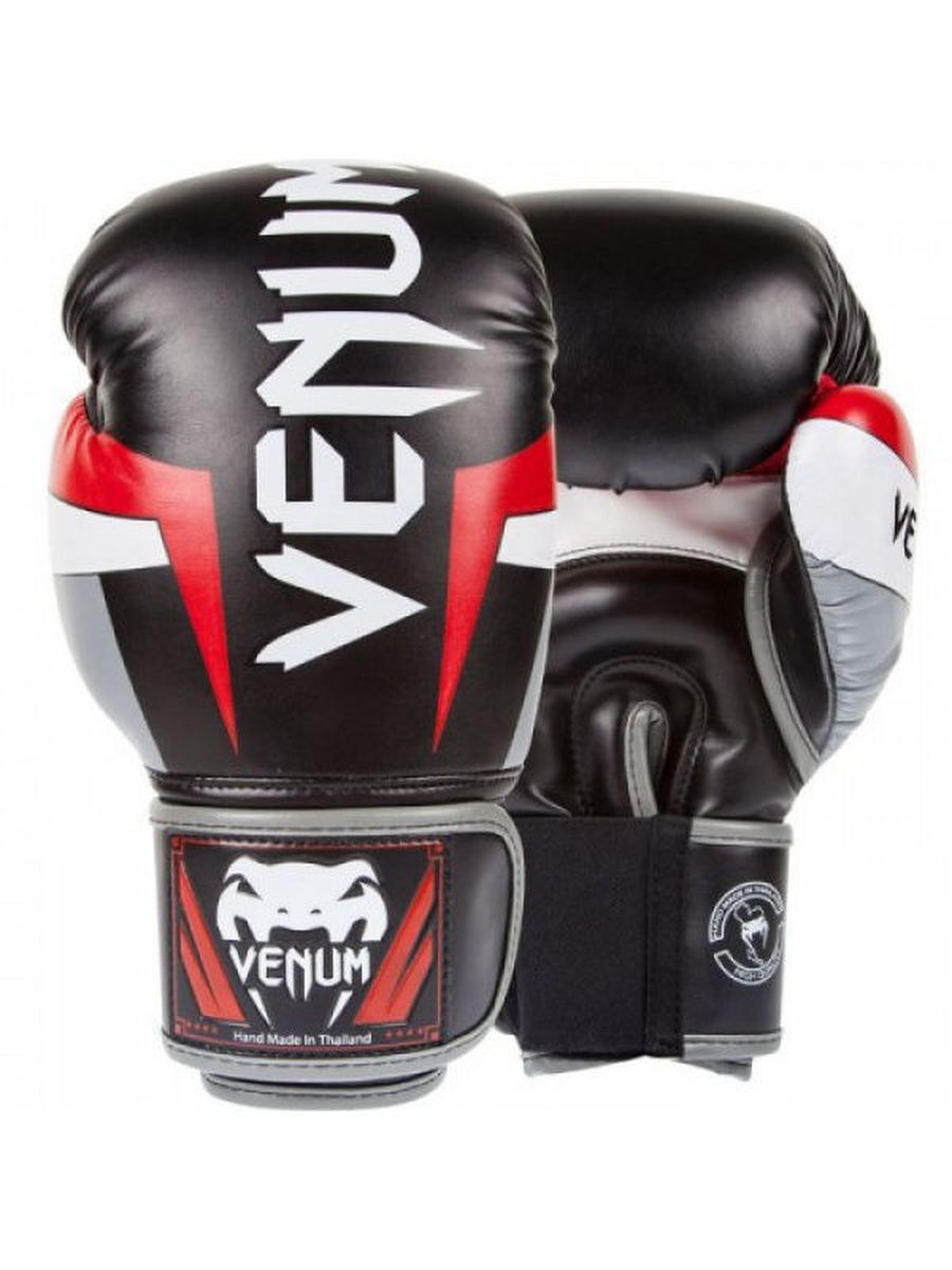 Перчатки боксерские Venum Elite Boxing Gloves - Black/Red/Grey