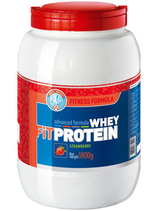 Протеин Академия-Т Fit WHEY PROTEIN  (1800 гр.) клубника (FITNESS FORMULA) батончик high protein fitness bar клубника 50г