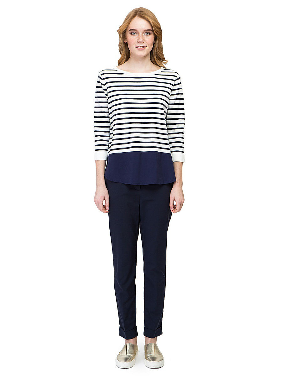 Джемпер Baon (Баон) B137034/MILK-DARKNAVYSTRIPED