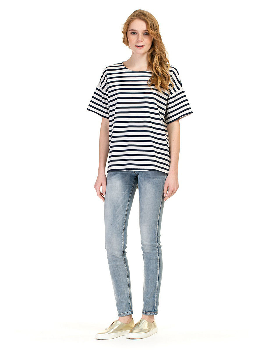 Футболка Baon (Баон) B237009/MILK-DARKNAVYSTRIPED