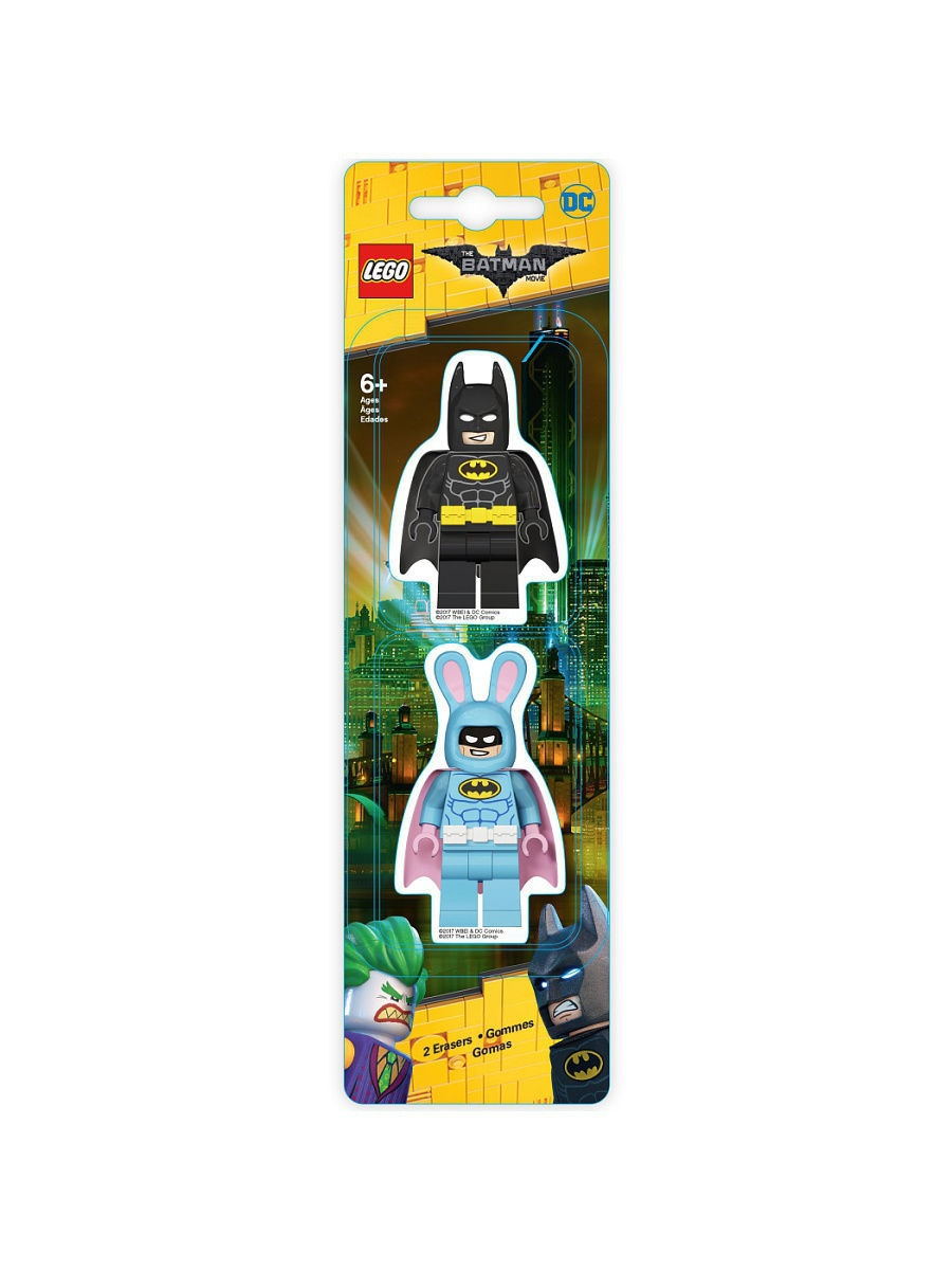 все цены на  Ластики Lego. Набор ластиков (2 шт.) LEGO Batman Movie (Лего Фильм: Бэтмен)- Batman/Easter Bunny Batman  в интернете