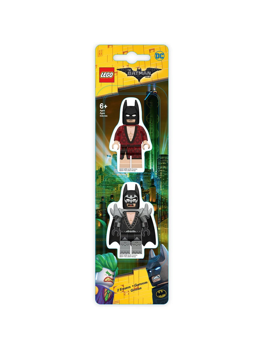 Ластики Lego. Набор ластиков (2 шт.) LEGO Batman Movie (Лего Фильм: Бэтмен)- Kimono Batman/Glam Rocker Batman конструкторы lego lego атака глиноликого 70904 batman movie