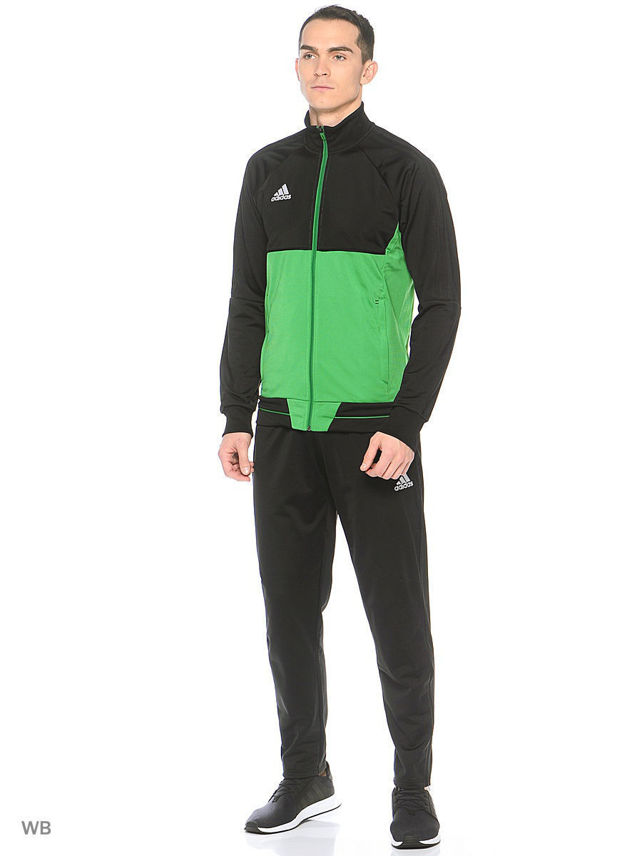 Ветровка TIRO17 PES JKT   BLACK/GREEN/WHITE