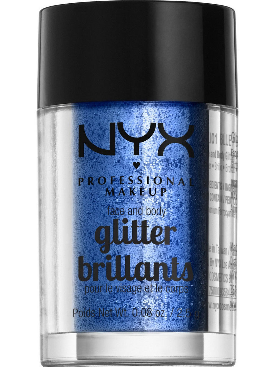Глиттеры NYX PROFESSIONAL MAKEUP Глиттер для лица и тела FACE & BODY GLITTER - BLUE 01 глиттер для лица и тела face & body glitter gunmetal nyx professional makeup
