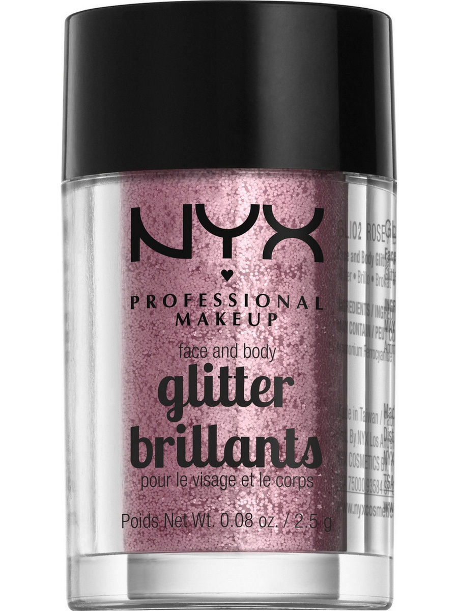 Глиттеры NYX PROFESSIONAL MAKEUP Глиттер для лица и тела FACE & BODY GLITTER - ROSE 02 глиттер для лица и тела face & body glitter gunmetal nyx professional makeup