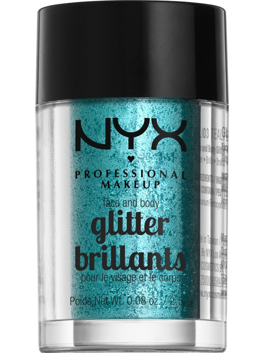 Глиттеры NYX PROFESSIONAL MAKEUP Глиттер для лица и тела FACE & BODY GLITTER - TEAL 03 глиттер для лица и тела face & body glitter gunmetal nyx professional makeup