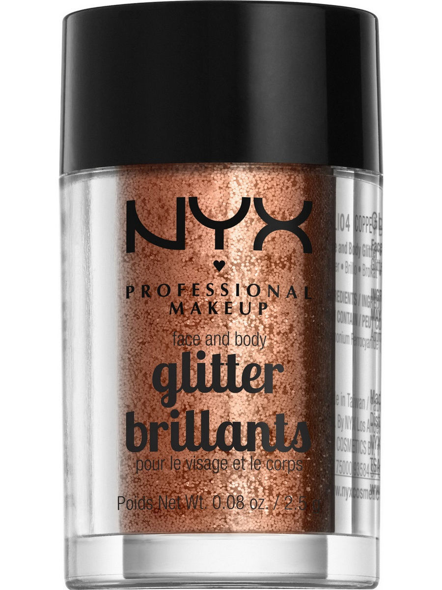 Глиттеры NYX PROFESSIONAL MAKEUP Глиттер для лица и тела FACE & BODY GLITTER - COPPER 04 глиттер для лица и тела face & body glitter gunmetal nyx professional makeup