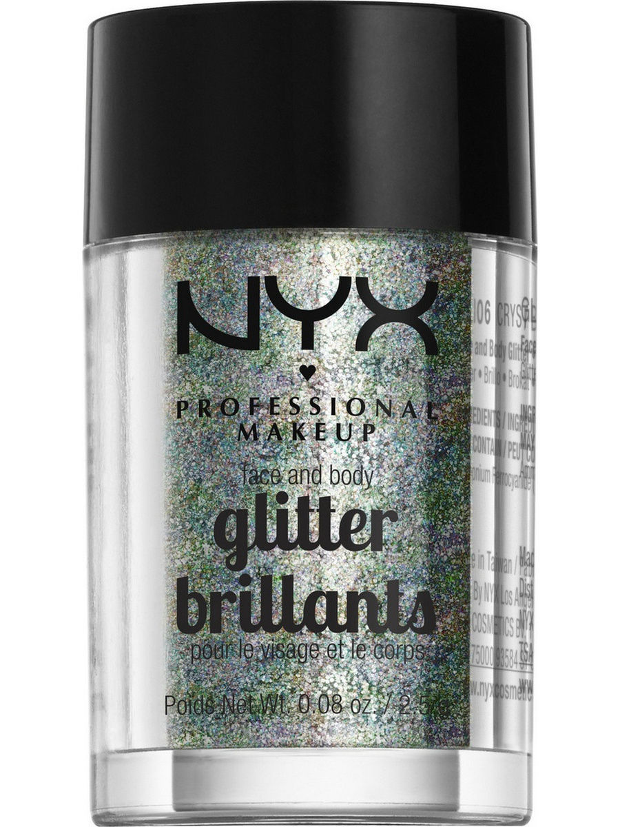 Глиттеры NYX PROFESSIONAL MAKEUP Глиттер для лица и тела. FACE & BODY GLITTER - CRYSTAL 06 глиттер для лица и тела face & body glitter gunmetal nyx professional makeup