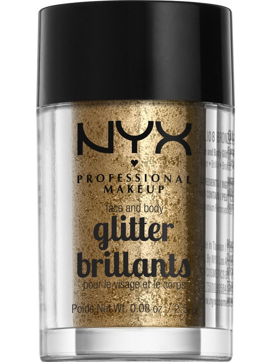 Глиттеры NYX PROFESSIONAL MAKEUP Глиттер для лица и тела FACE & BODY GLITTER - BRONZE 08 глиттер для лица и тела face & body glitter gunmetal nyx professional makeup
