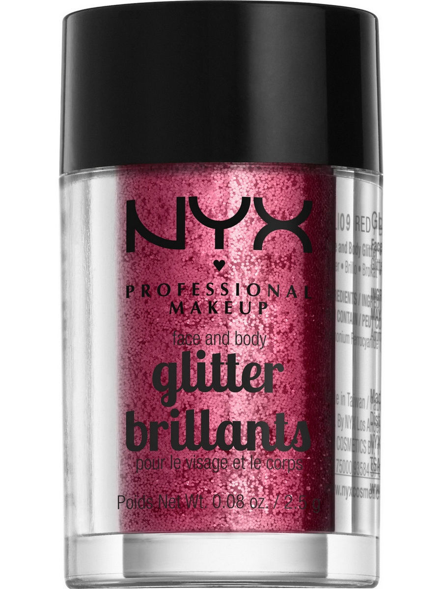 Глиттеры NYX PROFESSIONAL MAKEUP Глиттер для лица и тела FACE & BODY GLITTER - RED 09 глиттер для лица и тела face & body glitter gunmetal nyx professional makeup