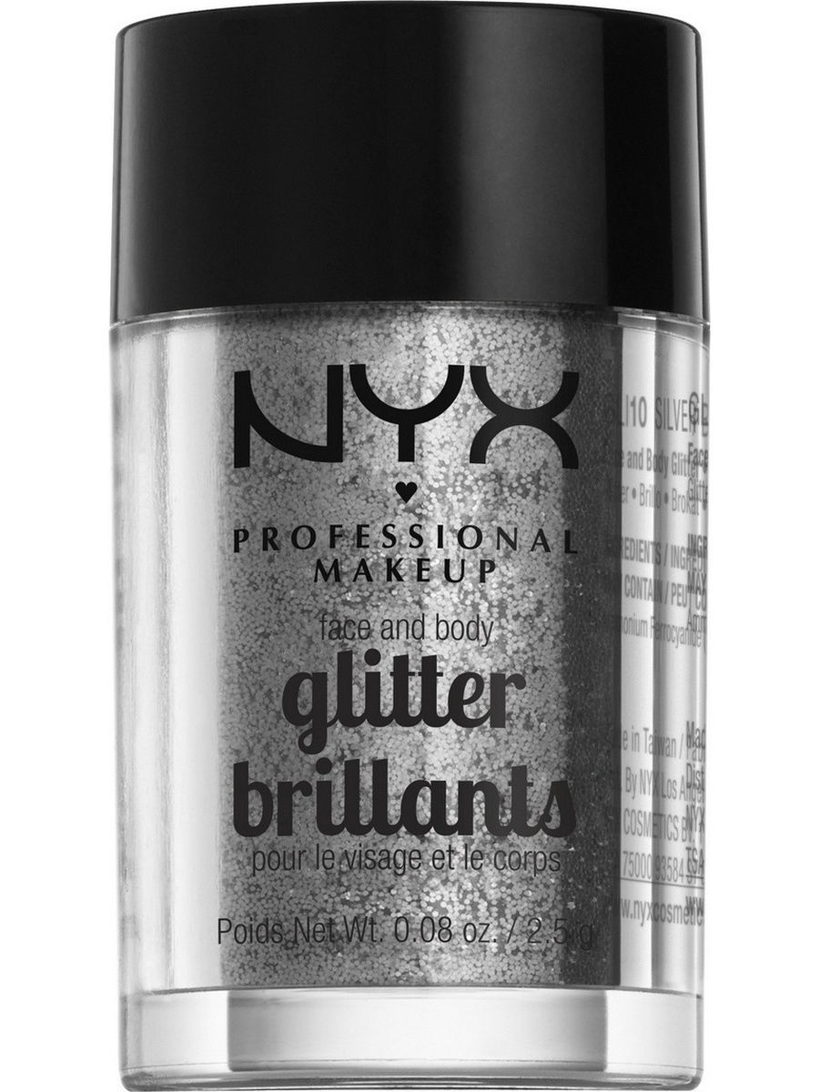 Глиттеры NYX PROFESSIONAL MAKEUP Глиттер для лица и тела FACE & BODY GLITTER - SILVER 10 глиттер для лица и тела face & body glitter gunmetal nyx professional makeup