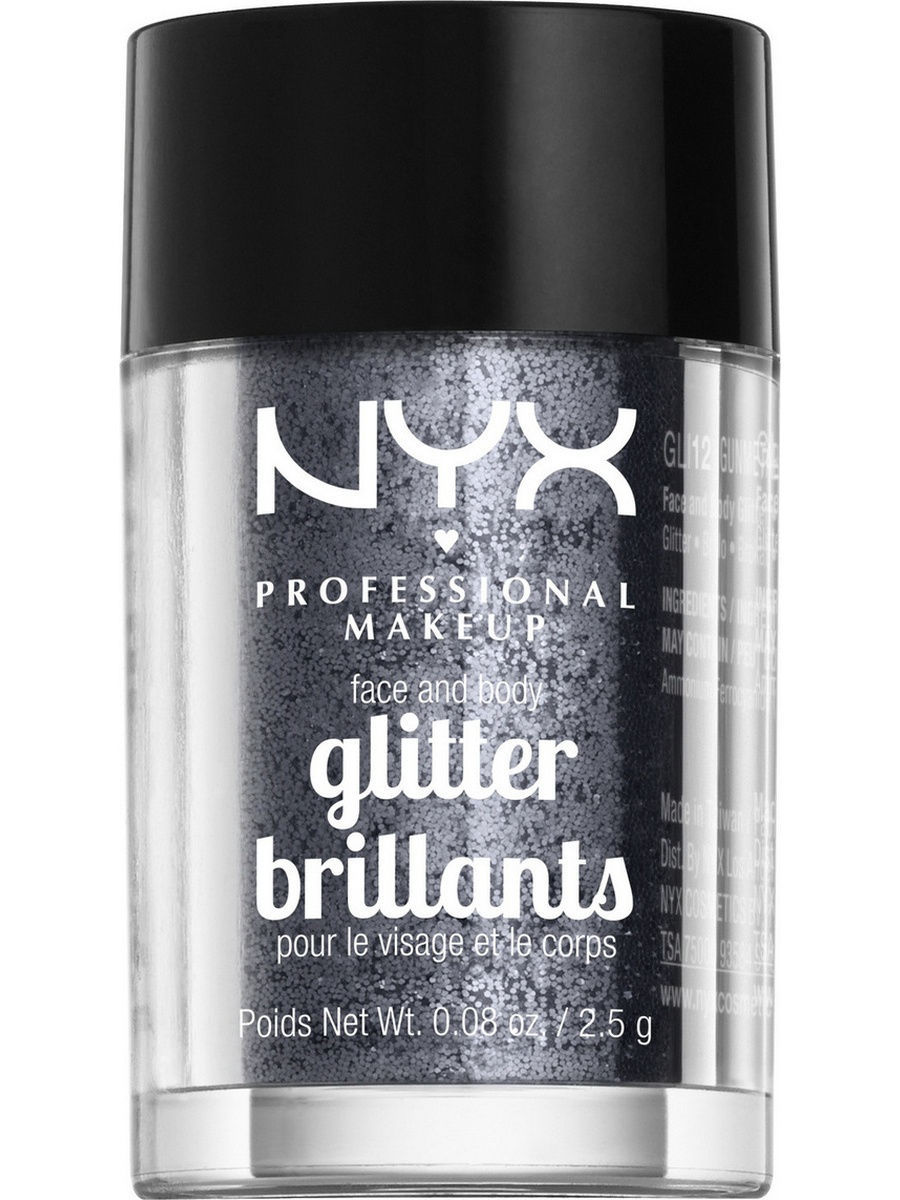 Глиттеры NYX PROFESSIONAL MAKEUP Глиттер для лица и тела FACE & BODY GLITTER - GUNMETAL 12 глиттер для лица и тела face & body glitter gunmetal nyx professional makeup