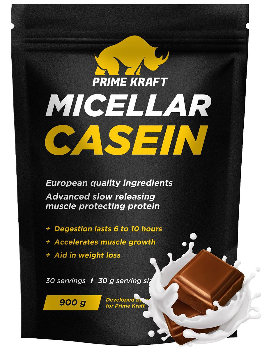 Протеин Prime Kraft Micellar Casein  (молочный шоколад) казеин optimum nutrition 100% casein protein ваниль 1815 г