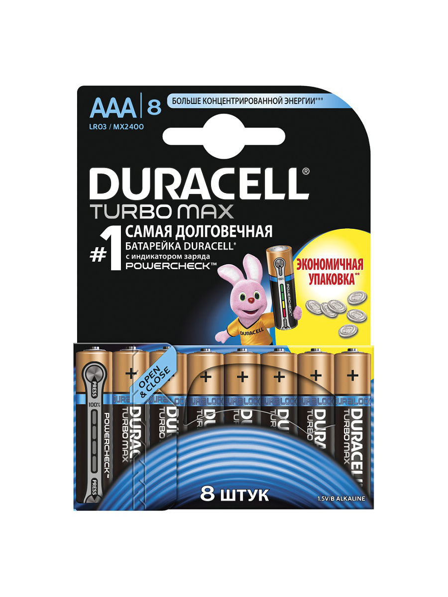 Элементы питания DURACELL Элемент питания LR03-8BL TURBO батарейки duracell lr03 8bl aaa 8 шт