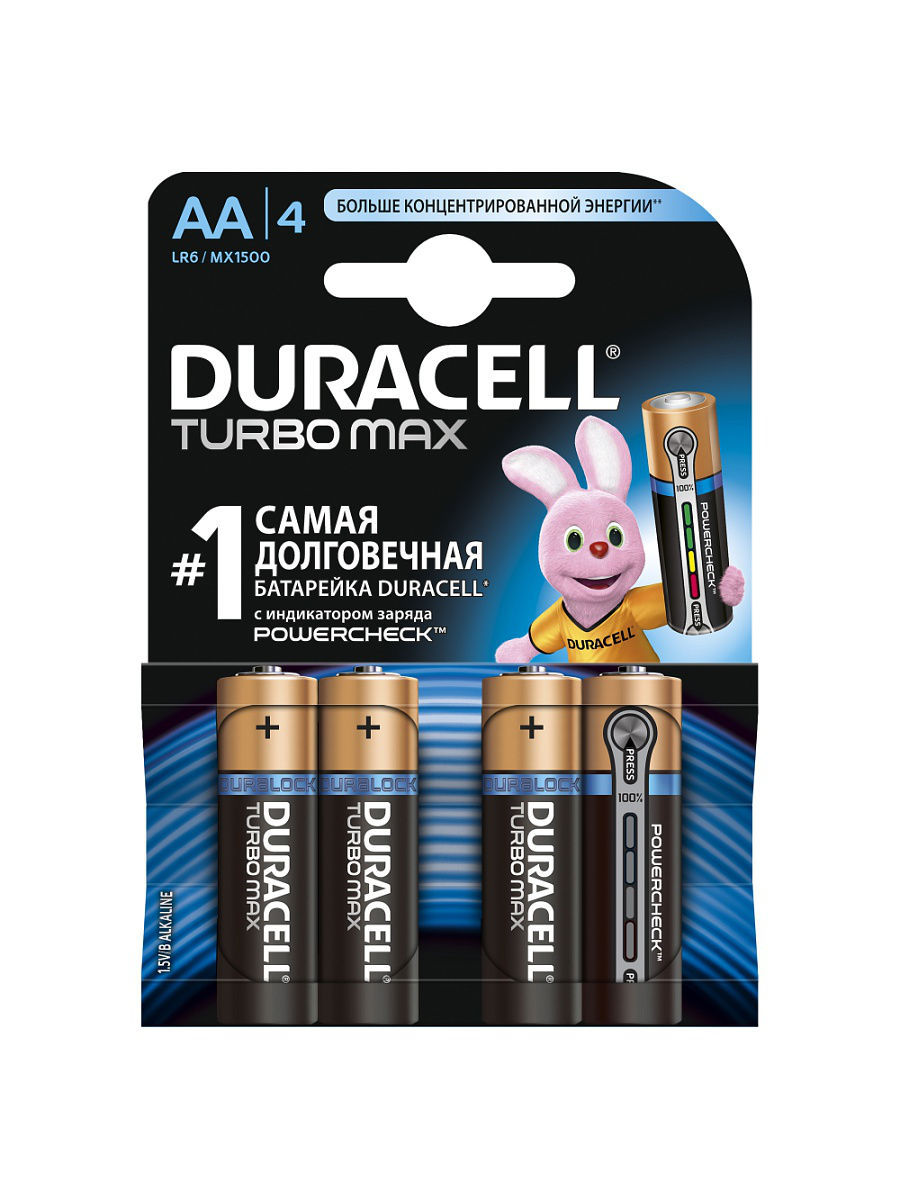 Элементы питания DURACELL Элемент питания LR6-4BL TURBO батарея canyon lr6 4bl aa 4 шт