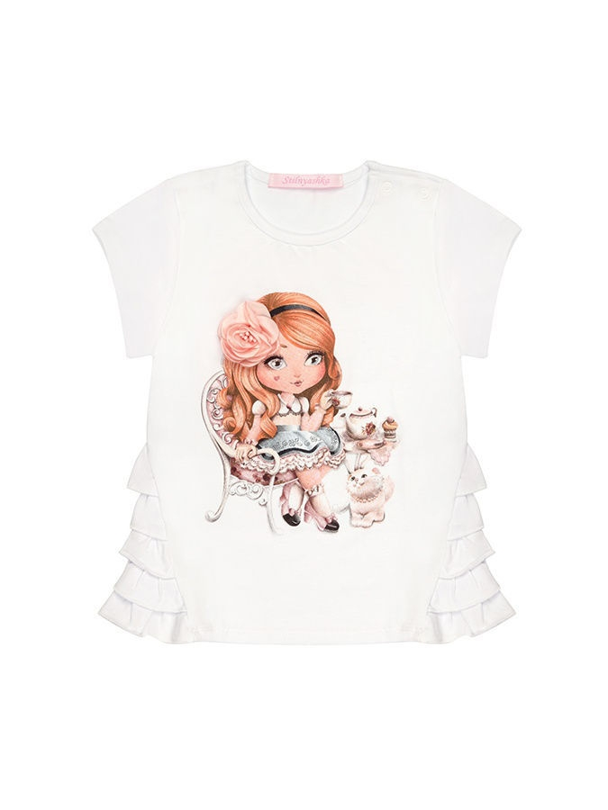 Футболка Stilnyashka ФТ-2037BabycollectionRoseкотенок/белый