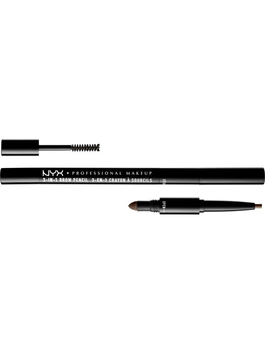 Косметические карандаши NYX PROFESSIONAL MAKEUP Карандаш для бровей 3 в 1 3 IN 1 BROW PENCIL - ASH BROWN 3108 карандаш для бровей touch in sol brow expert bar 2 цвет 02 brownie brown variant hex name 2c1a0c