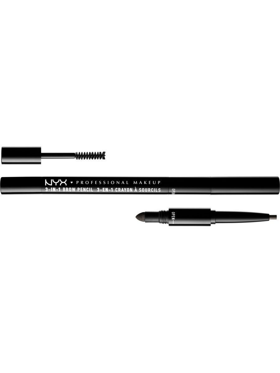 Косметические карандаши NYX PROFESSIONAL MAKEUP Карандаш для бровей 3 в 1 3 IN 1 BROW PENCIL - BLACK 3110 карандаш для бровей professional eyebrow pencil rimmel